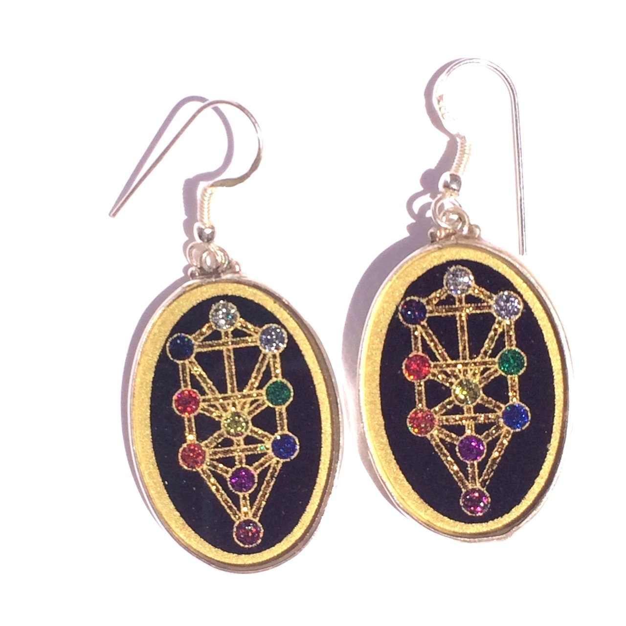 Tree of Life Sacred Geometry Earrings (black tourmaline) by Scalar Heart Collection 614961513600
