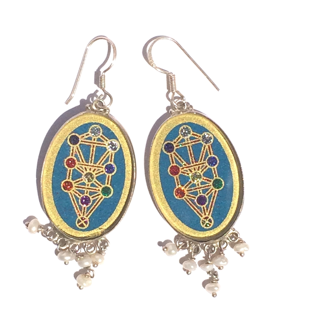 Tree of Life Sacred Geometry Earrings (turquoise) by Scalar Heart Collection 614961513594