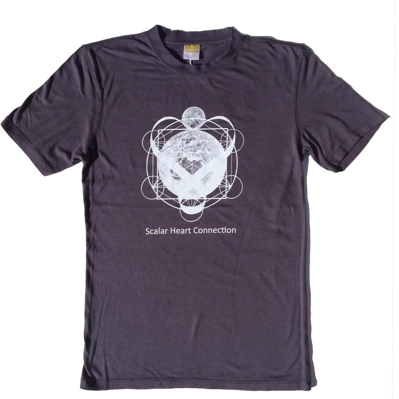 Men Organic Bamboo & Cotton T-shirt: Earth & Moon in Metatron's Cube 00628