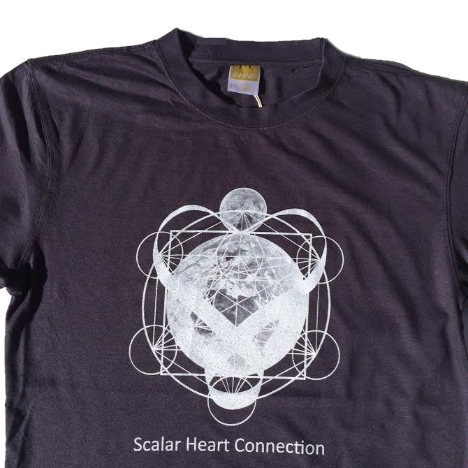 Men Organic Bamboo & Cotton T-shirt: Earth & Moon in Metatron's Cube