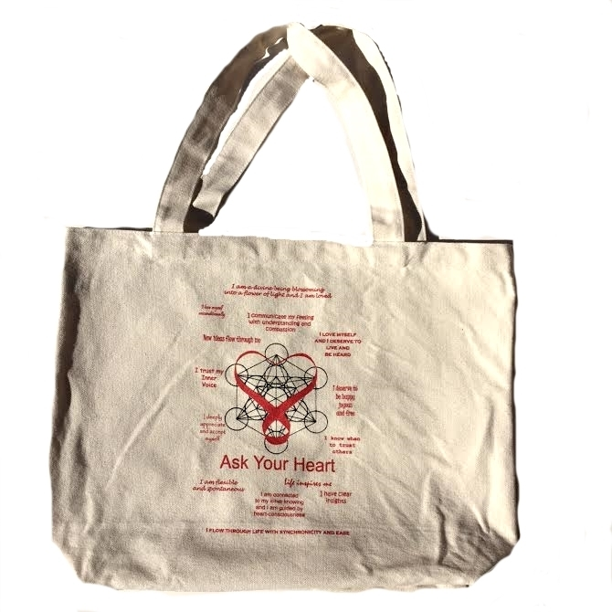 Scalar Heart Connection Organic Cotton Canvas Tote Bag with Ask Your Heart Messages 00627