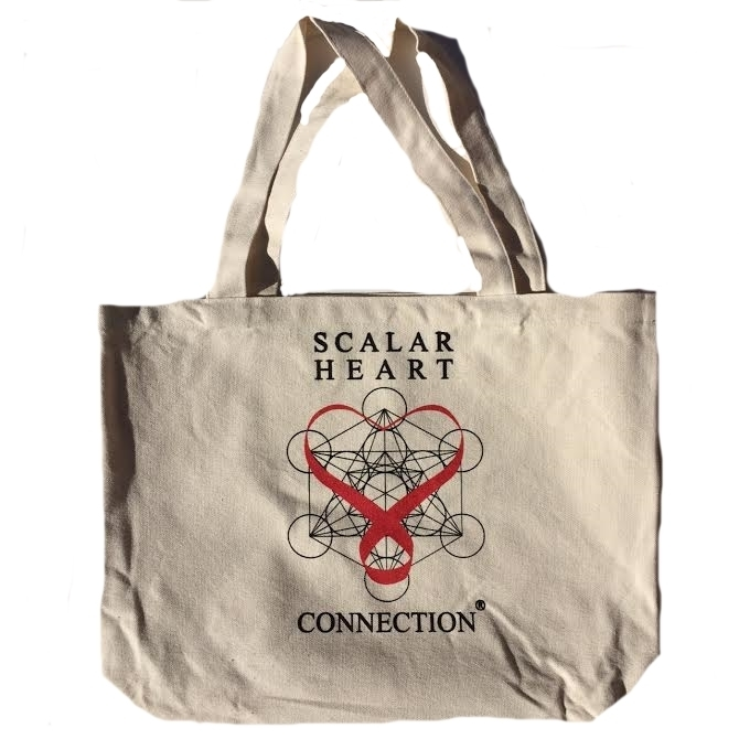 Scalar Heart Connection Organic Cotton Canvas Tote Bag with Ask Your Heart Messages