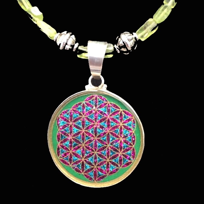 Flower of Life (malachite) Sacred Geometry Mini Pendant with green peridot necklace by Scalar Heart Connection