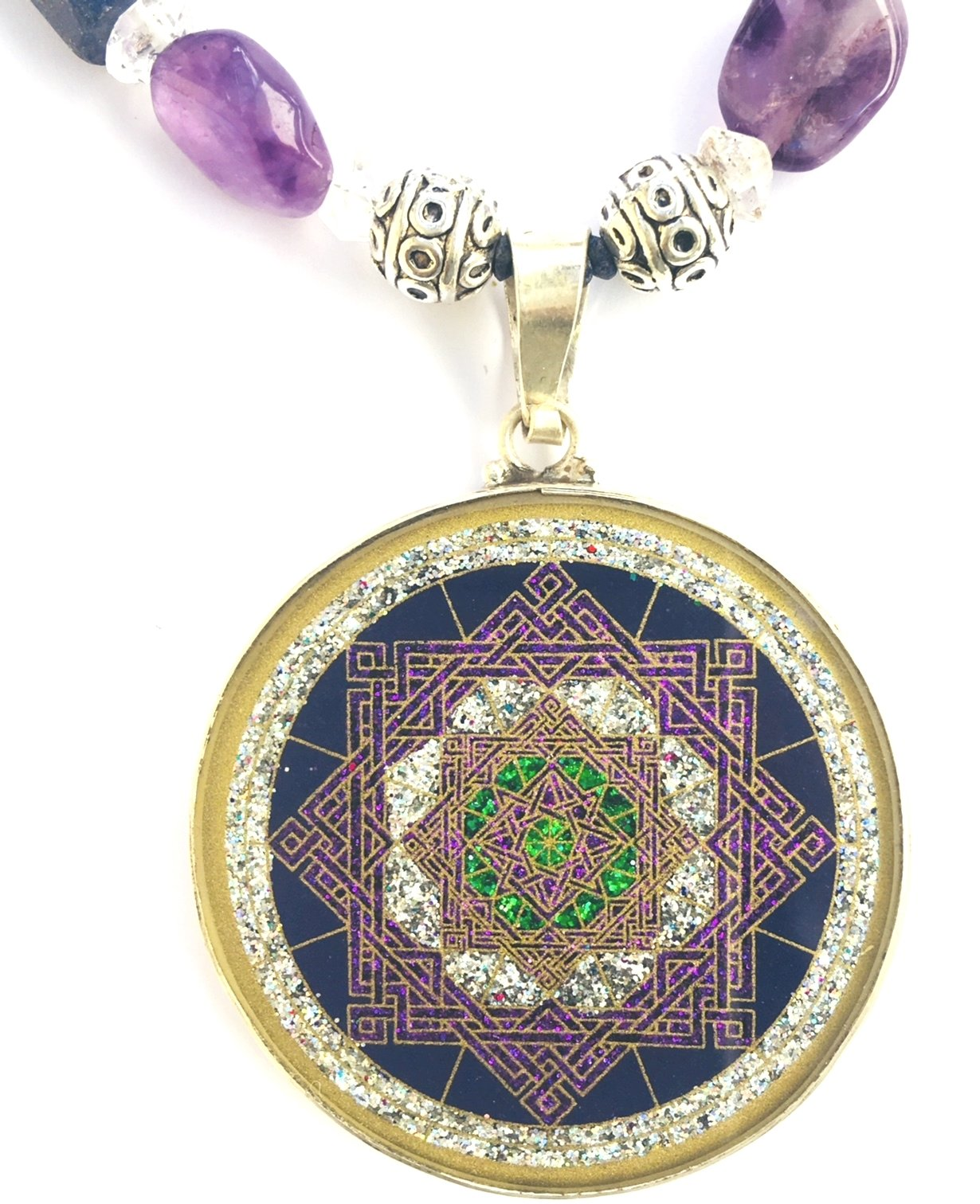 Star of Lakshmi pendant (lapis lazuli) and amethyst necklace by Scalar Heart Connection 680491185235