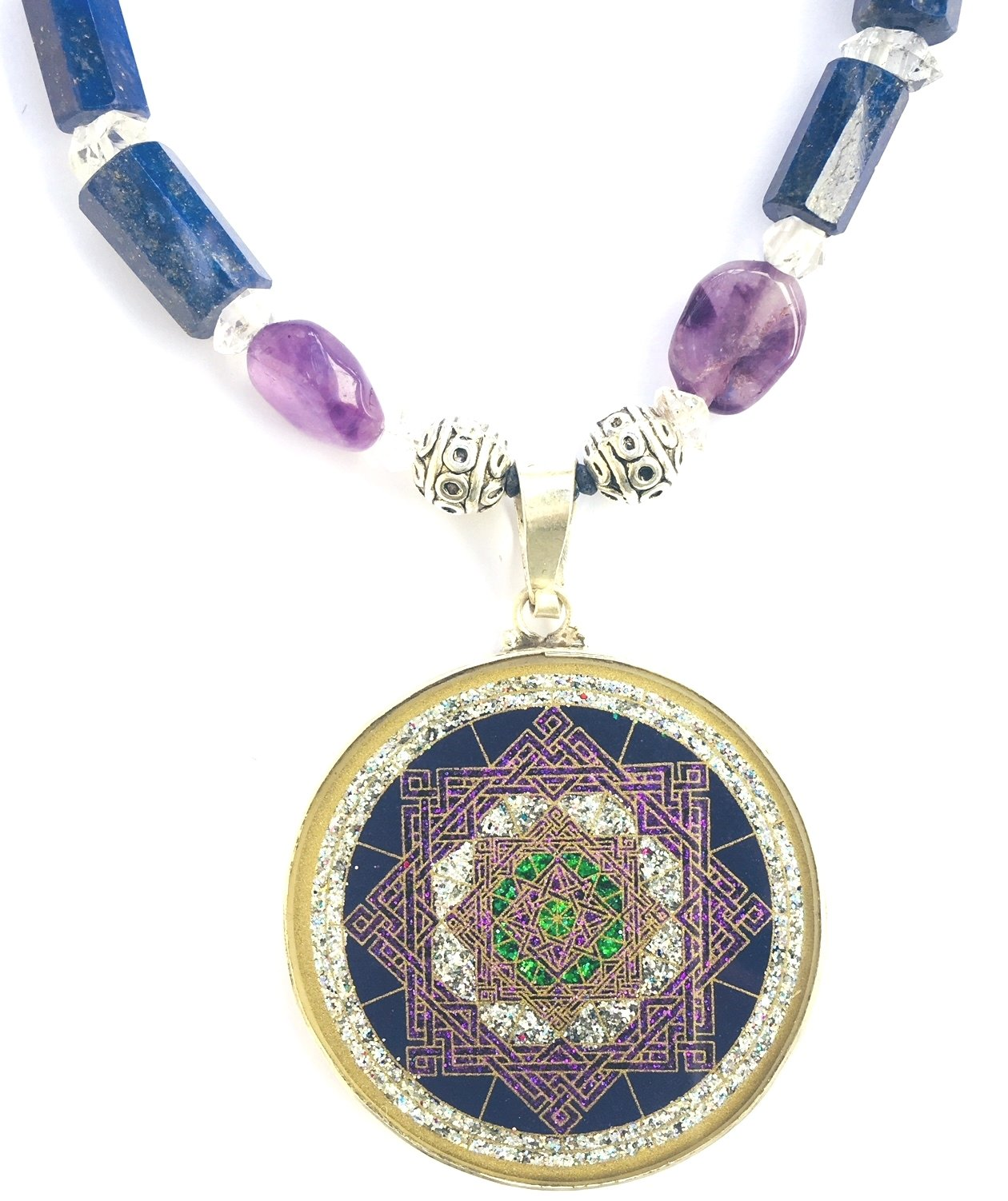 Star of Lakshmi pendant (lapis lazuli) and amethyst necklace by Scalar Heart Connection
