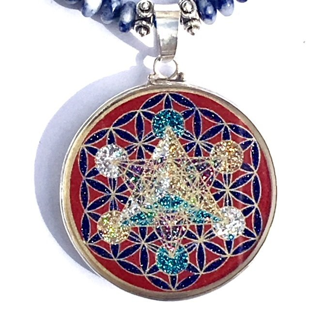 Metatron's Cube in Flower of Life (red coral) with sodalite necklace by Scalar Heart Connection 00631