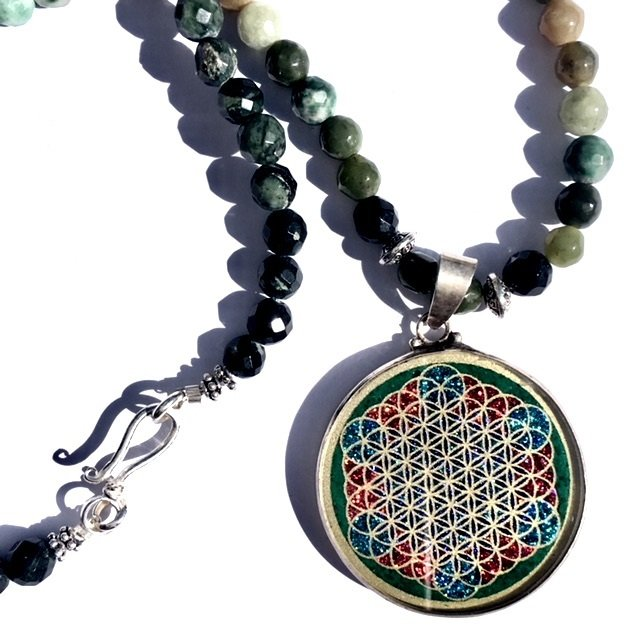 Fruit of Life Pendant (malachite) and Malaysian jade necklace by Scalar Heart Connection