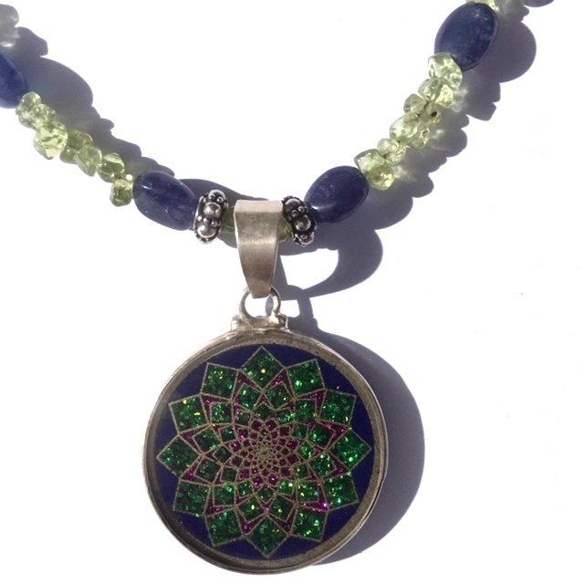 Sahasrara Sacred Geometry MINI Pendant (lapis lazuli) with peridot necklace by Scalar Heart Connection