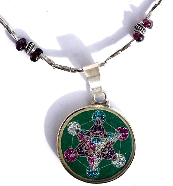 Metatron's Cube Sacred Geometry MINI pendant (malachite) and sterling silver necklace by Scalar Heart Connection 00714