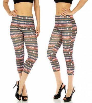 E17 Cotton Blend Capri Leggings Geometric Pink/Tan