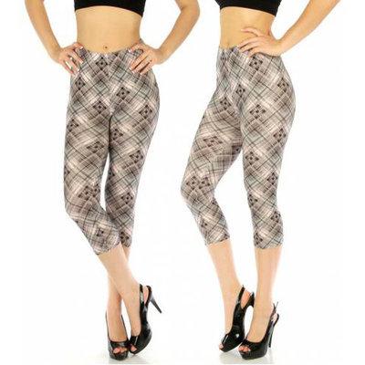 Cotton Blend Capri Leggings Checkered Grey/Pink