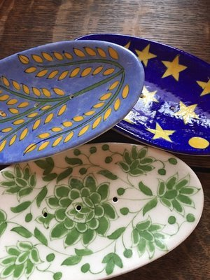 Oval Painted Soap Dish from India