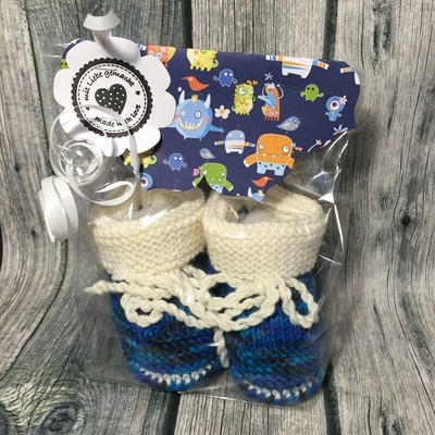 Babyschuhe blau & weiß