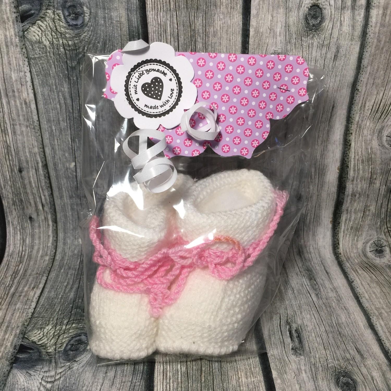 Babyschuhe weiß & rosa