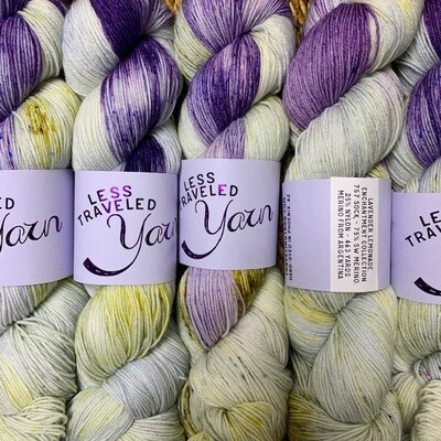 Less Traveled Yarn Fingering Sock LAVENDER LEMONADE