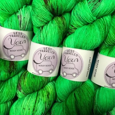 Less Traveled Yarn Fingering Sock Nerdy Verde