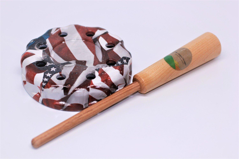 Turkey Pot Call Friction Slate/Slate (American Flag) with Free Hickory Dowel