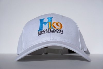 White Twill Hat with Teal Logo