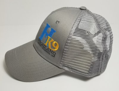 Light Grey Trucker Hat with Teal Logo