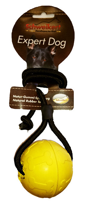 Schweikert Expert Dog Ball on a Rope Small (Yellow)