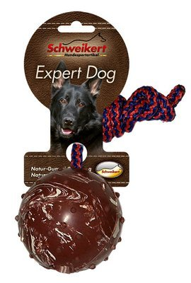 Schweikert Expert Dog Studded Ball on a Rope Medium (Brown)