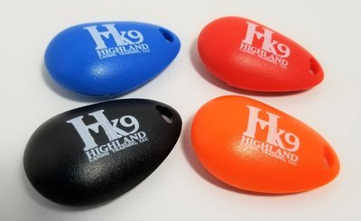 Imprinted Tear Drop Shaped Training Clicker - Highland Canine Logo