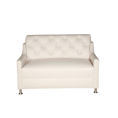 White Tufted Loveseat