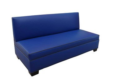 Blue Sofa with Metallic Welting