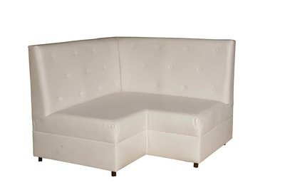 White Button Square Loveseat