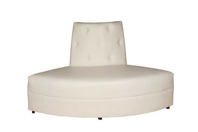 White Button Round Loveseat