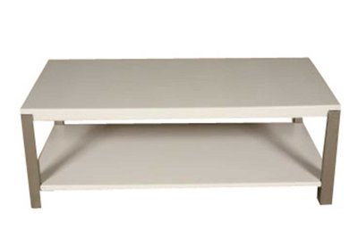 White and Steel Rectangle Cocktail Table