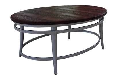Cherry Steel Oval Cocktail Table