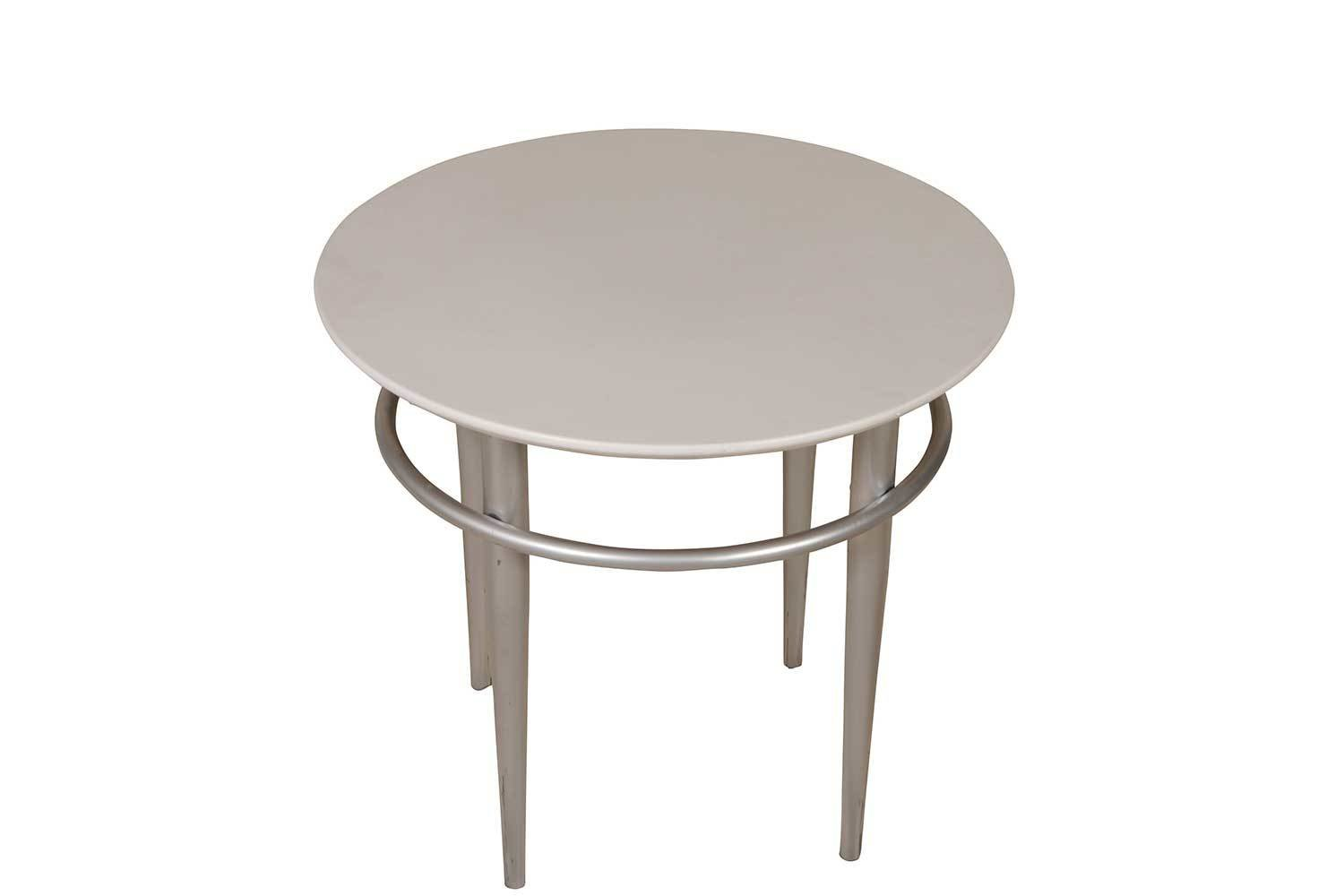 White Steel Round Accent Table 2197