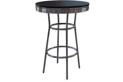 Black Chrome Pedestal Table