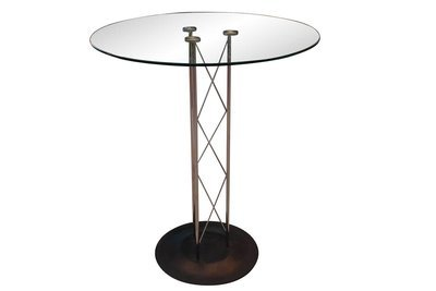 Chrome Glass Pedestal Table
