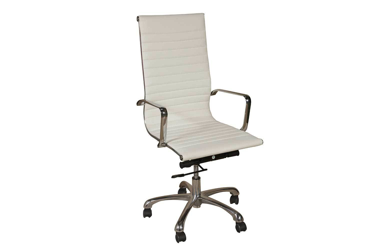 White Leather High Back Chair