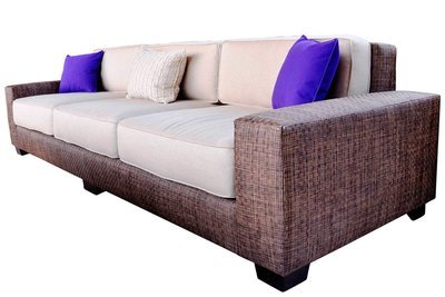 Oversized Plush Rattan Sofa