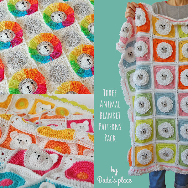 3 Animal Blanket Patterns Pack