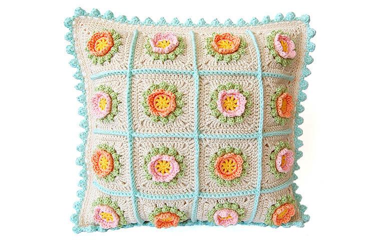 CROCHET PATTERN: Flowery  Cushion 00017