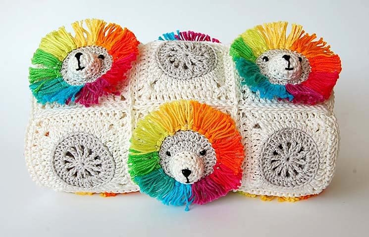 CROCHET PATTERN: Rainbow Lion Baby Blanket