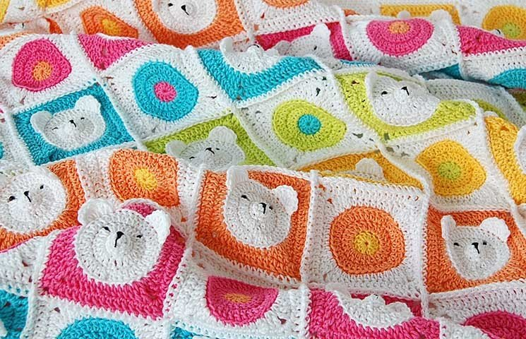 CROCHET PATTERN: Teddy Bear Baby Blanket 00000