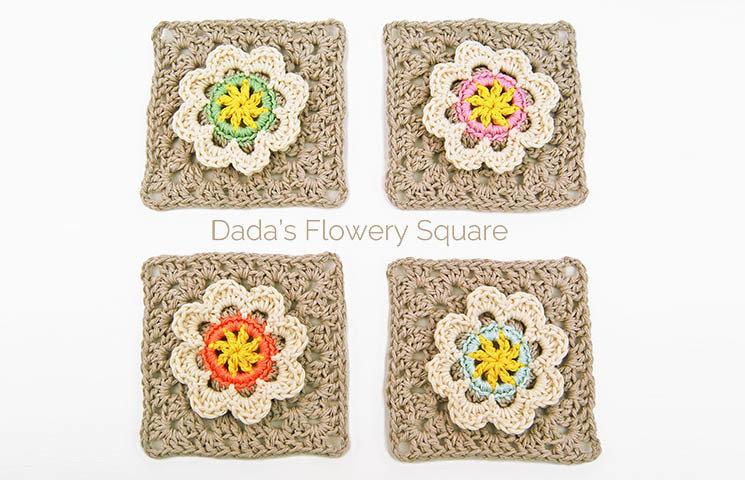 CROCHET PATTERN: Dada's Flowery granny square 00016