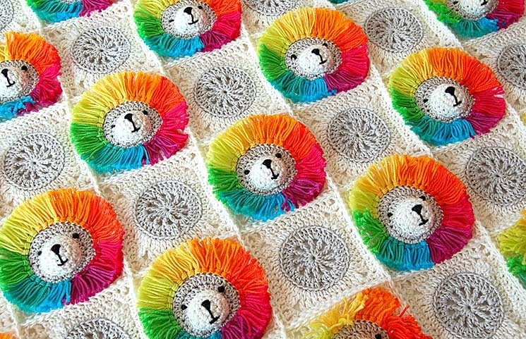 CROCHET PATTERN: Rainbow Lion Baby Blanket 00002