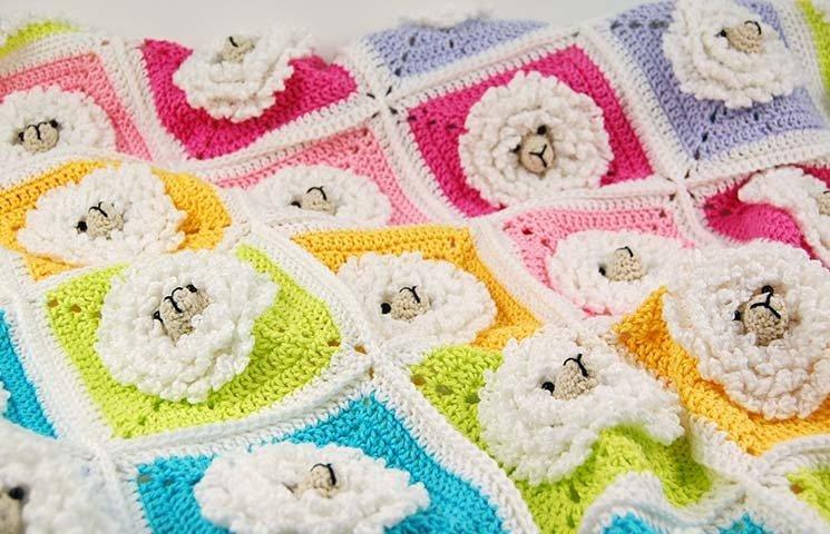 CROCHET PATTERN: Little Sheep Baby Blanket 00014