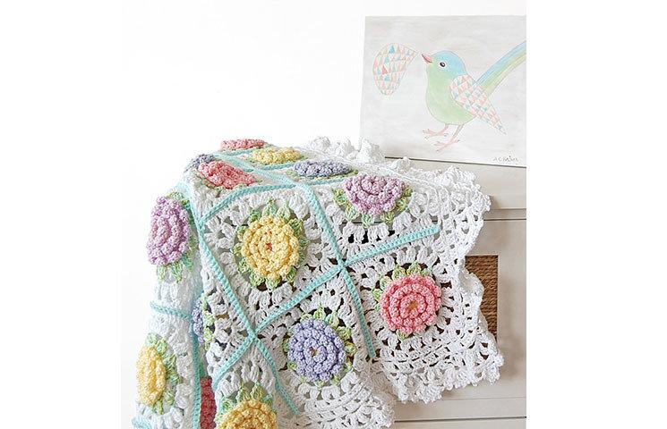 CROCHET PATTERN: Victorian Flower Baby Blanket 00005