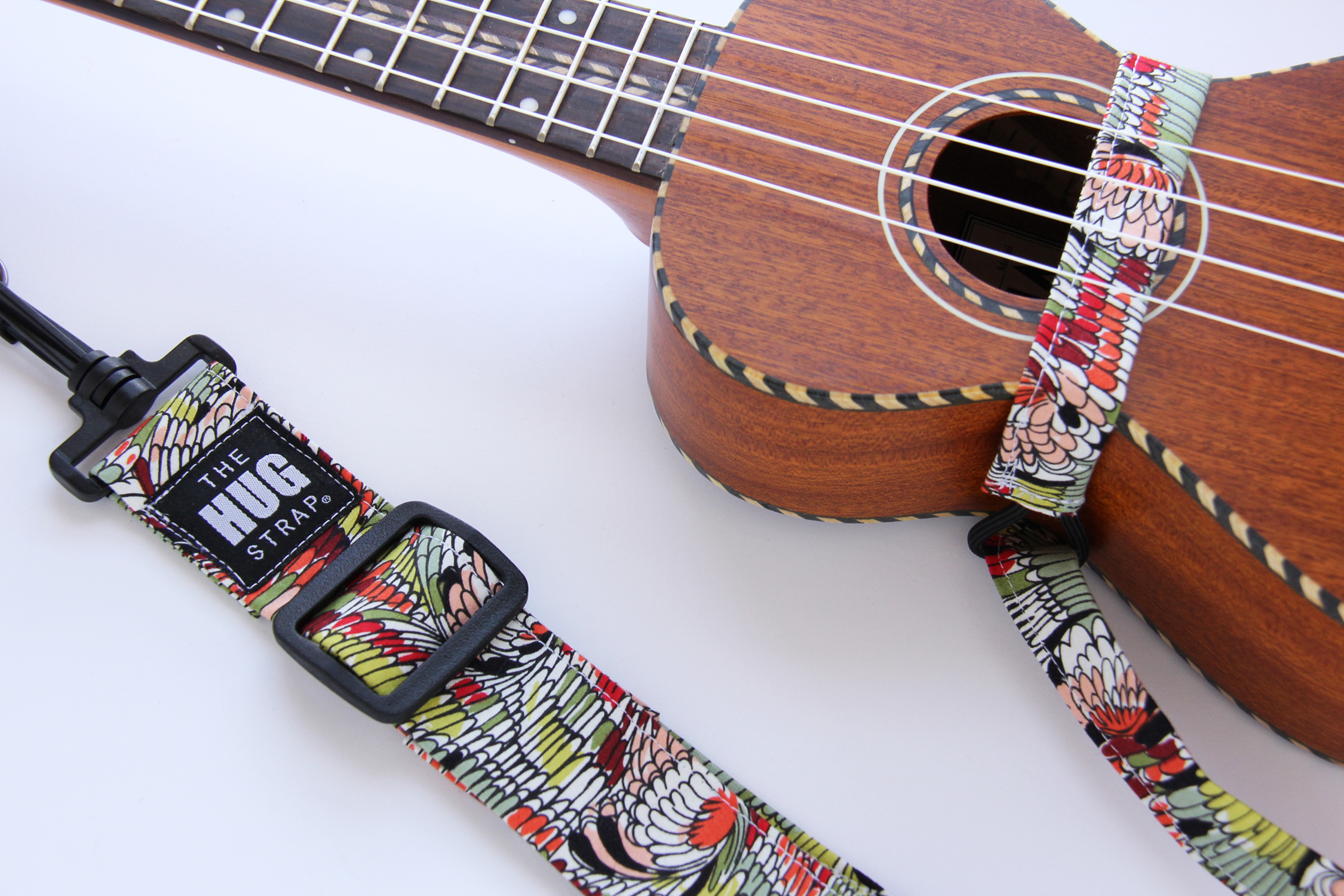 The HUG Strap, Handmade Ukulele Strap - Abstract Feather Print 00124