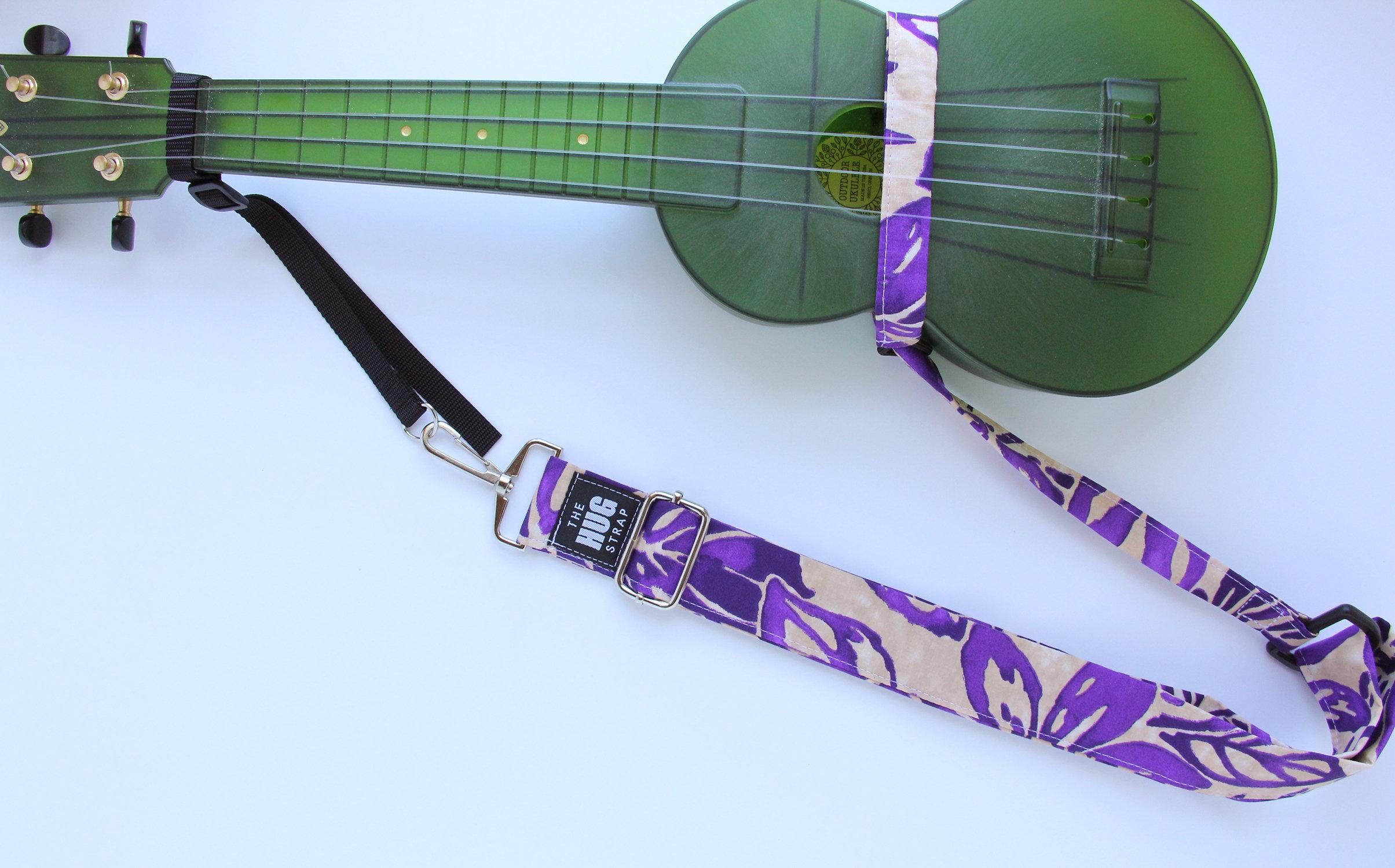 The HUG Strap, Handmade Ukulele Strap - Beige and Purple Aloha Print 00154