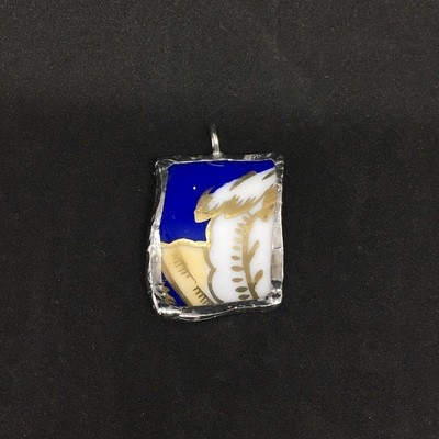 Royal blue pendant with hand painted gold
