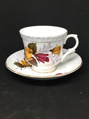 Staffordshire Yellow and Red Roses Tea Cup