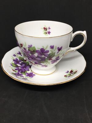 Queen Anne Purple Violets Tea Cup